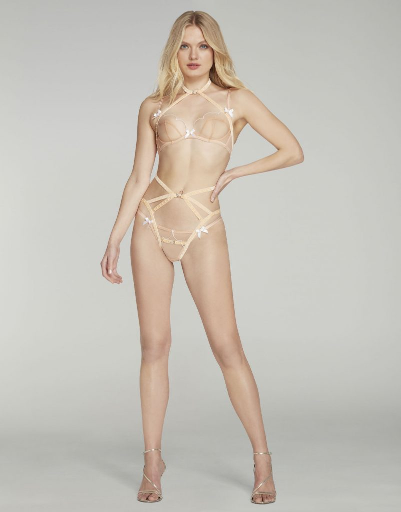 Agent Provocateur Lorna Bra Set and Precious Playsuit in light beige