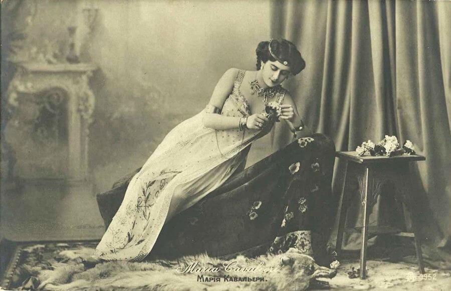 Maria Cavalieri, vintage postcard circa 1900, Russian opera singer.  Via MementoMori on DeviantArt.