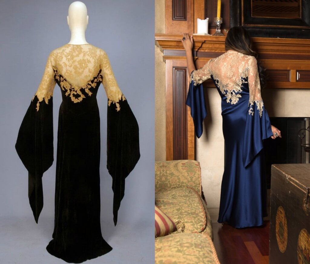 1930s 'deshabille' silk velvet and lace dressing gown on left. Layneau silk and lace dressing gown on right.