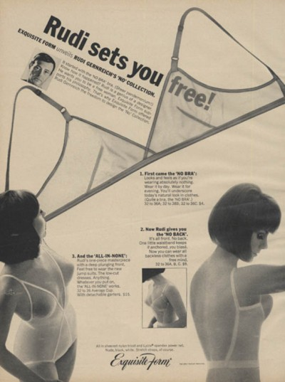 "1960s ""no bra"" advertisement. Interesting that the model still has the slightly-pointed ""ideal"" shape under her ""no bra,"" along with the strange airbrushing on the low back model's bustline! via The Jumping Frog www.thejumpingfrog.com"