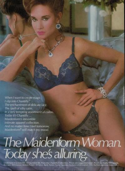 1985 Maidenform ad via Ebay http://www.ebay.com/itm/1985-Sexy-Woman-MAIDENFORM-Lingerie-Bra-Panty-Print-Ad-2-pg-/151242699840