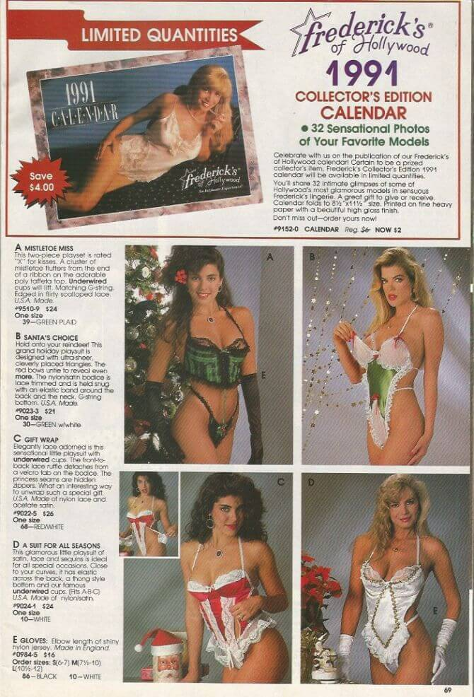 1991 Frederick's of Hollywood catalog page. What was sexy in the 1990s?