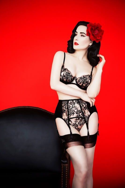 A look from Dita Von Teese's holiday lingerie collection. Photo by Erik Madigan Heck
