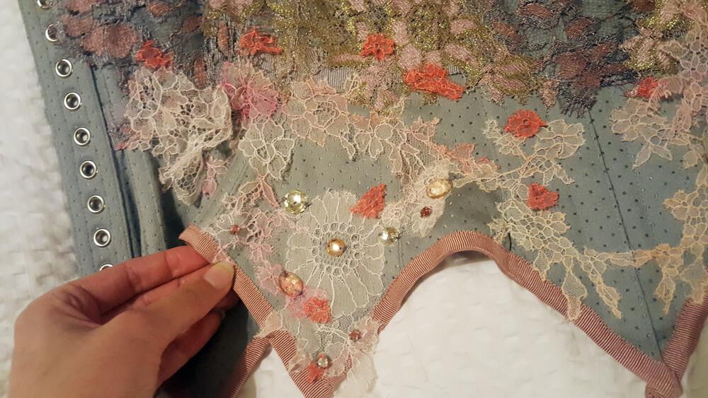Detail shot of the antique rhinestones Karolina added.