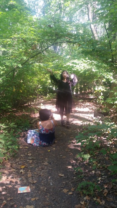 Behind the scenes, literally, at the Rose Petal Witch photoshoot.
