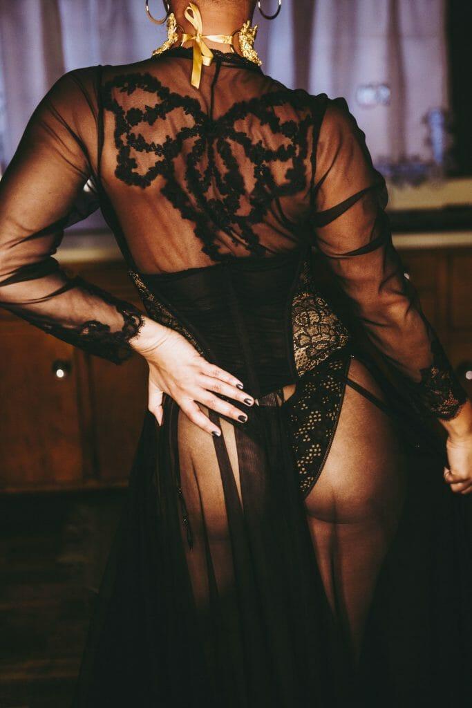 black mesh robe