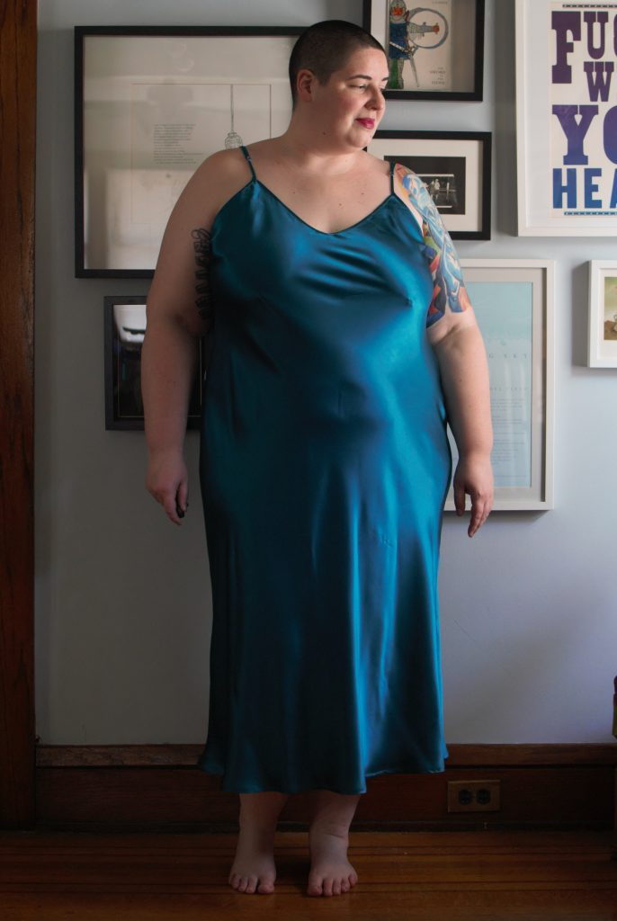 Lilysilk Deep Scoop Back Nightgown. Plus Size silk loungewear.