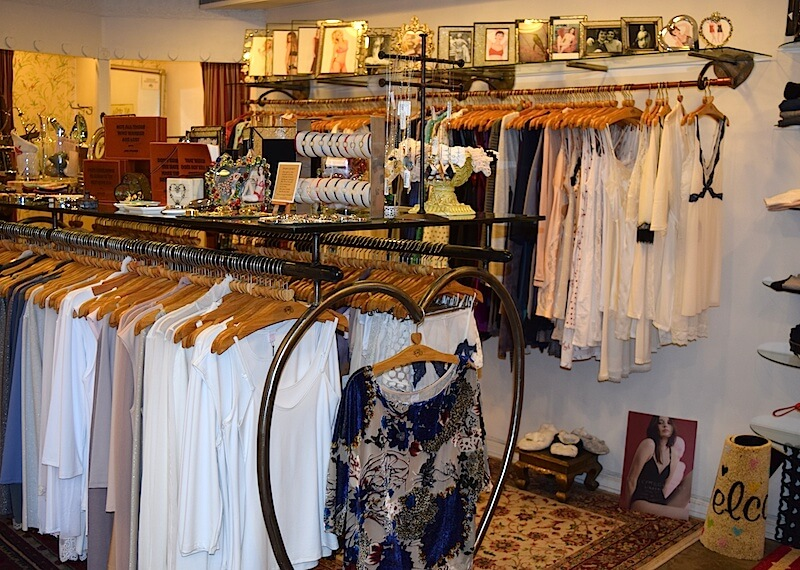 Racks of delicate sleepwear at Only Hearts