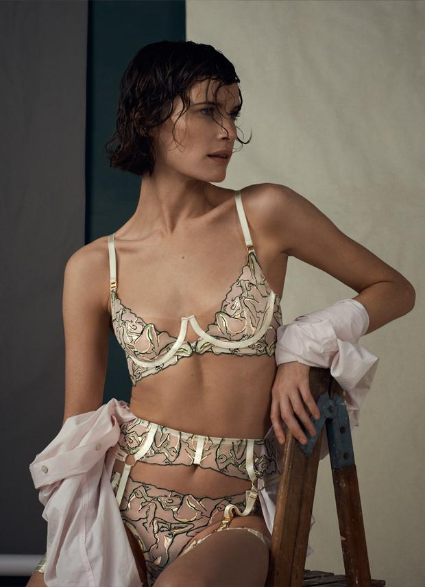 Bordelle Moa bra, garter belt, panty set featuring embroider by Etta Shon inspired by nude art from Egon Schiele