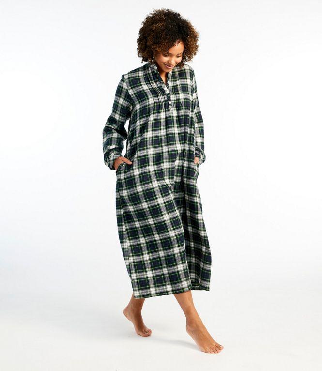 Model wearing LL Bean midi, scotch plaid, flannel nightgown.