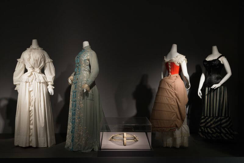 Mid to late 19th century dressing gowns, bustles, and corsets (Photograph courtesy The Museum at FIT)