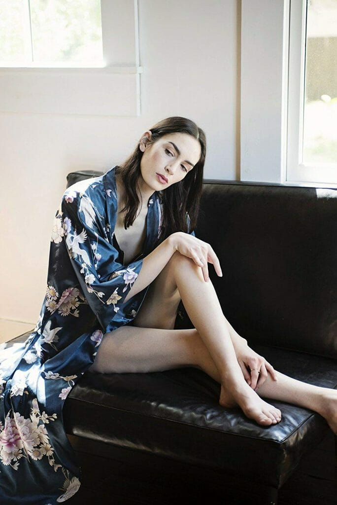 Chrysanthemum and Crane Women's Long Robe by Kim + Ono