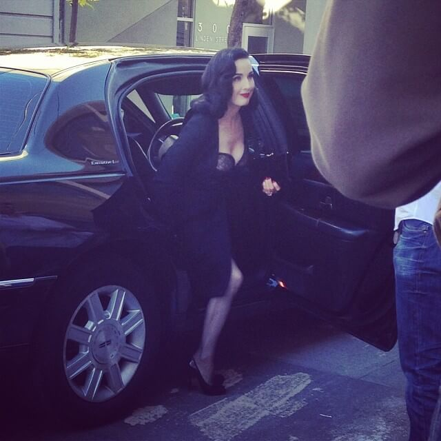 Dita exiting her car, about to make her way into Dark Garden.  Photo by Lily Liqueur.