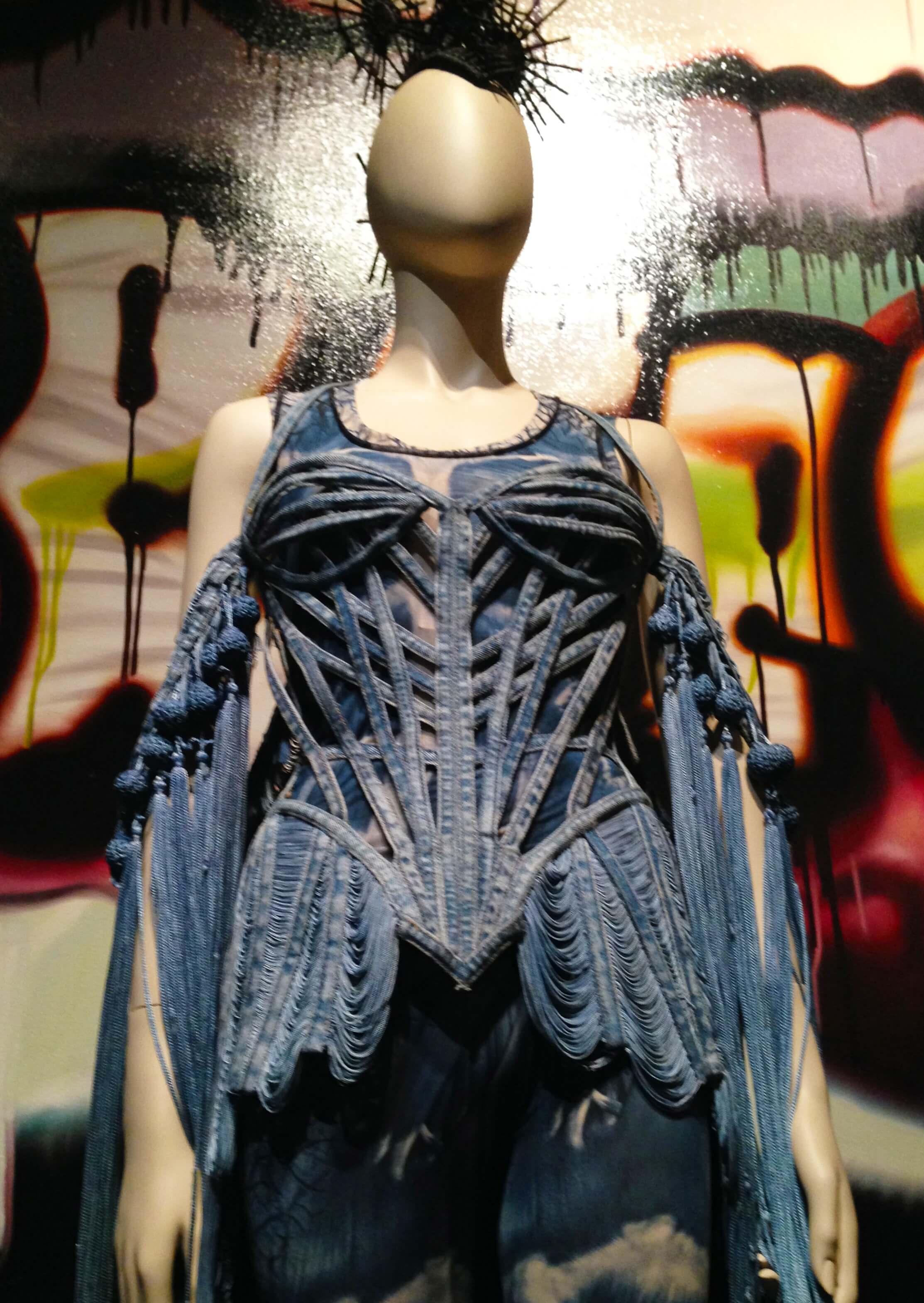 9 punk cancan skeleton denim look silk corest