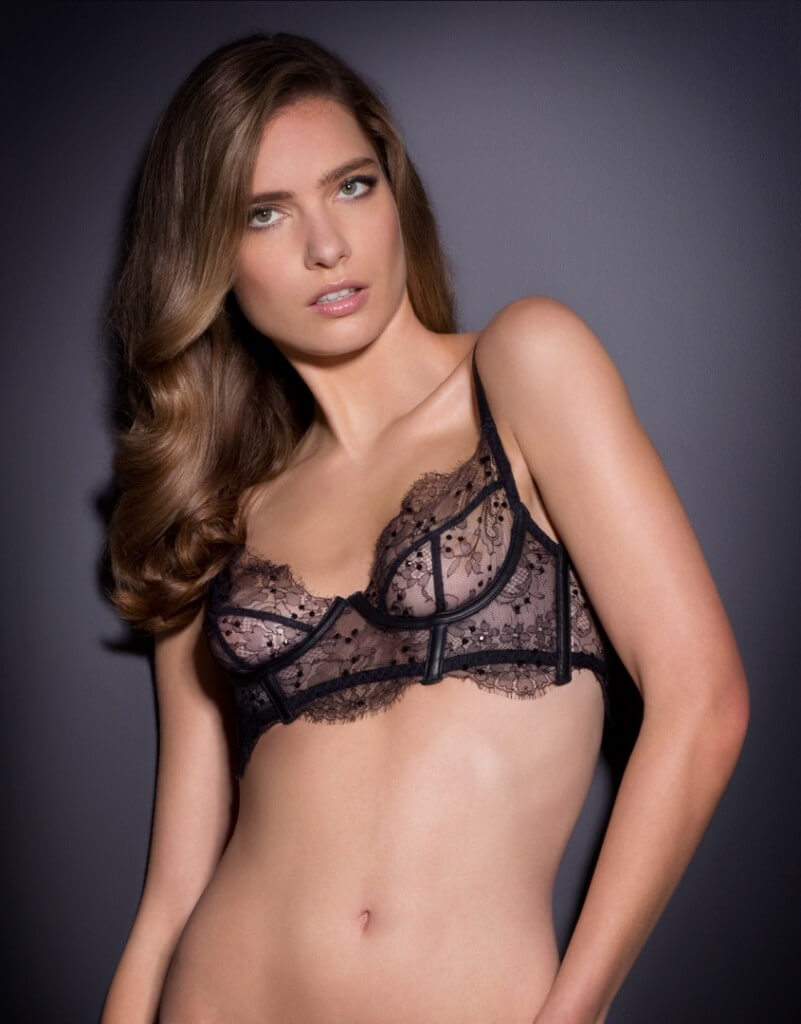 Agent Provocateur Soiree's 'Adara' bra uses the lace's scallop throughout - on the cup, cradle and wing. This would incur quite a lot of waste but its price reflects this - £395 just for the bra