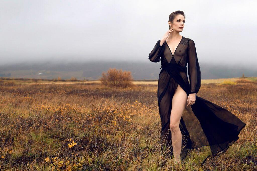 Between the Sheets Andromeda Lookbook Golden Circle Silk Lace Dressing Gown