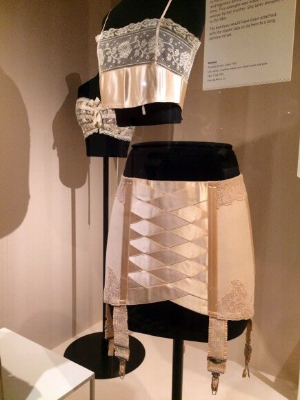 Bust bodice, homemade bralet and girdle. C. 1900-1930. Taken at the Victoria and Albert museum. Photo by Ruth Schechner.