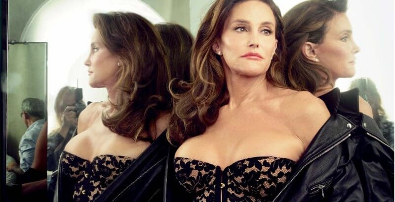"Caitlyn Jenner in black lace ""Willow"" corset by Agent Provocateur. Photo © Annie Leibovitz."
