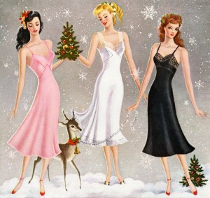 Christmas 3 Women Wearing Slips