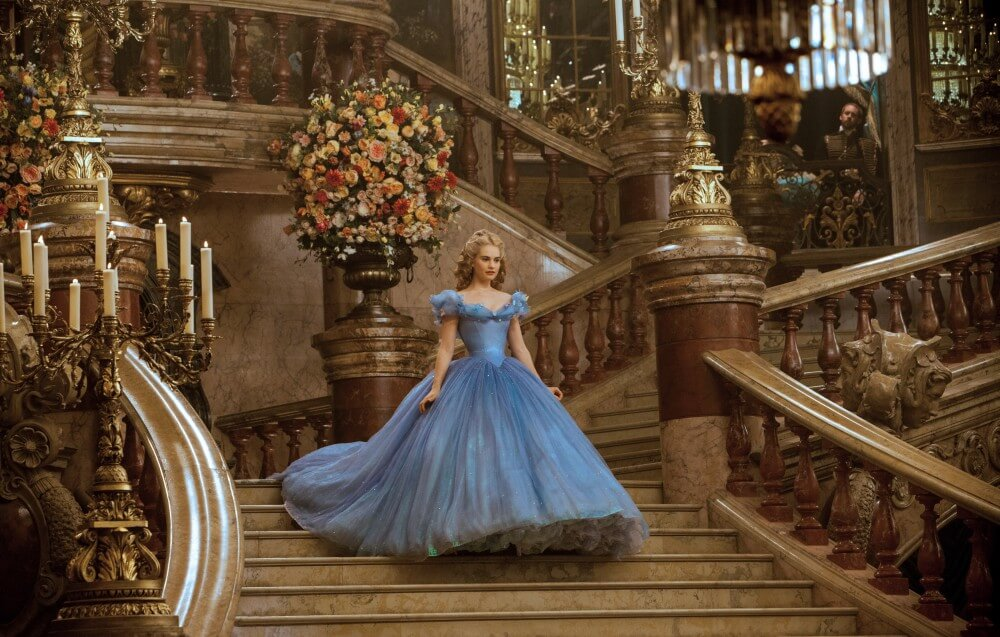Lily James in her corseted Cinderella ballgown.