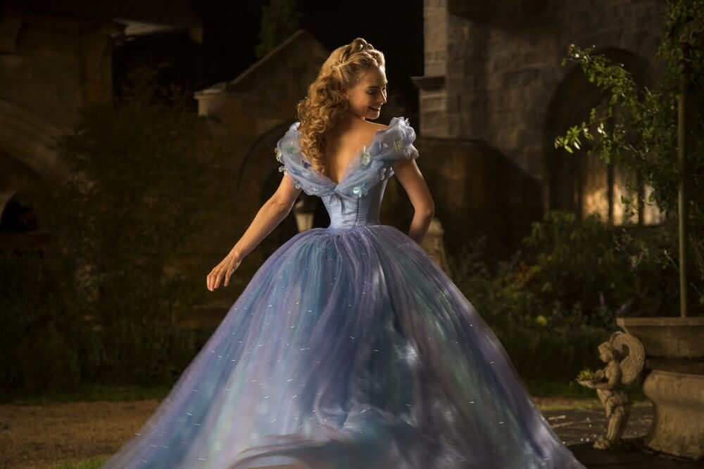 Lily James' now famously tiny waist in a promotional image from Disney's new live-action Cinderella film.