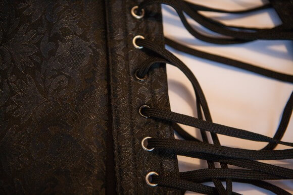 Eyelet detail. Overbust with Ribbon Lacing Detail on Hip Panels by Corsets UK. Photo by Karolina Laskowska