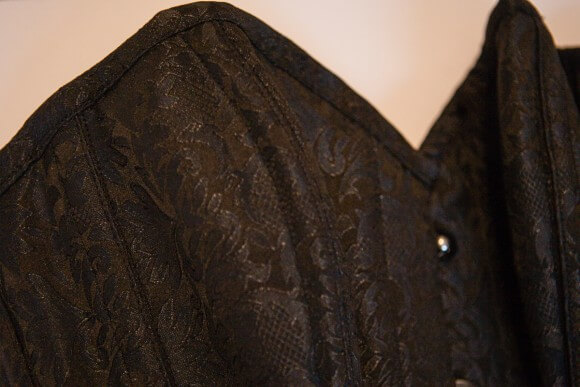 Neckline detail. Overbust with Ribbon Lacing Detail on Hip Panels by Corsets UK. Photo by Karolina Laskowska