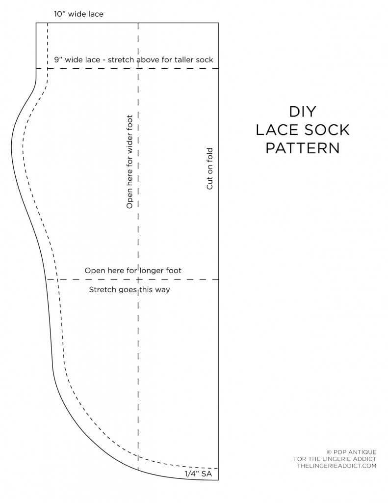 DIY pattern for lace socks. Print to fill a standard letter size sheet of paper.