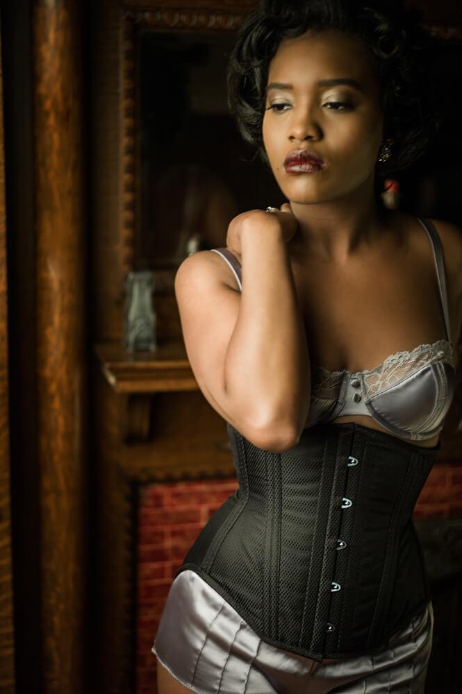 Dollymop for Dark Garden underbust corset | Model: Khadijah | Photo © Joel Aron