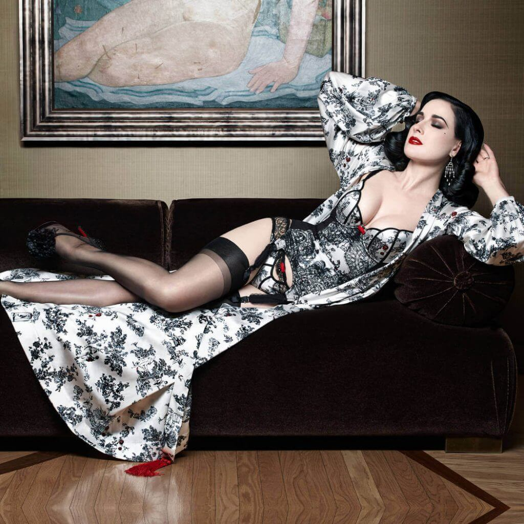 Dita Von Teese - XXXtian Robe - Toile de Jouy print on silk designed by Louboutin