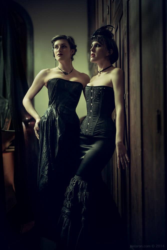 Dollymop for Dark Garden black corset gowns   Models: Anneka & Sarafina   Photo © Joel Aron