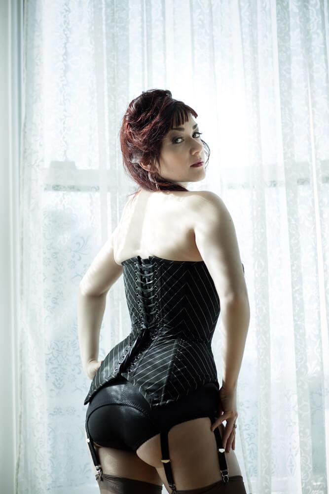 Dollymop for Dark Garden pinstripe corset | Model: Victoria Dagger | Photo © Joel Aron
