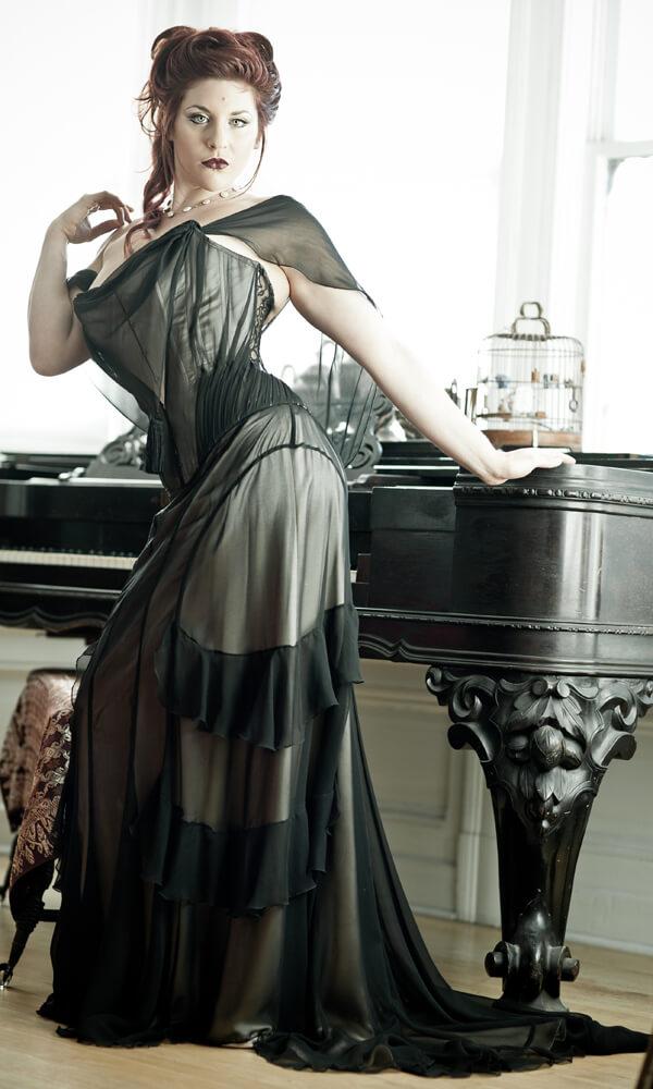 Dark Garden couture corset ensemble | Model: Dwoira Galilea | Photo © Joel Aron