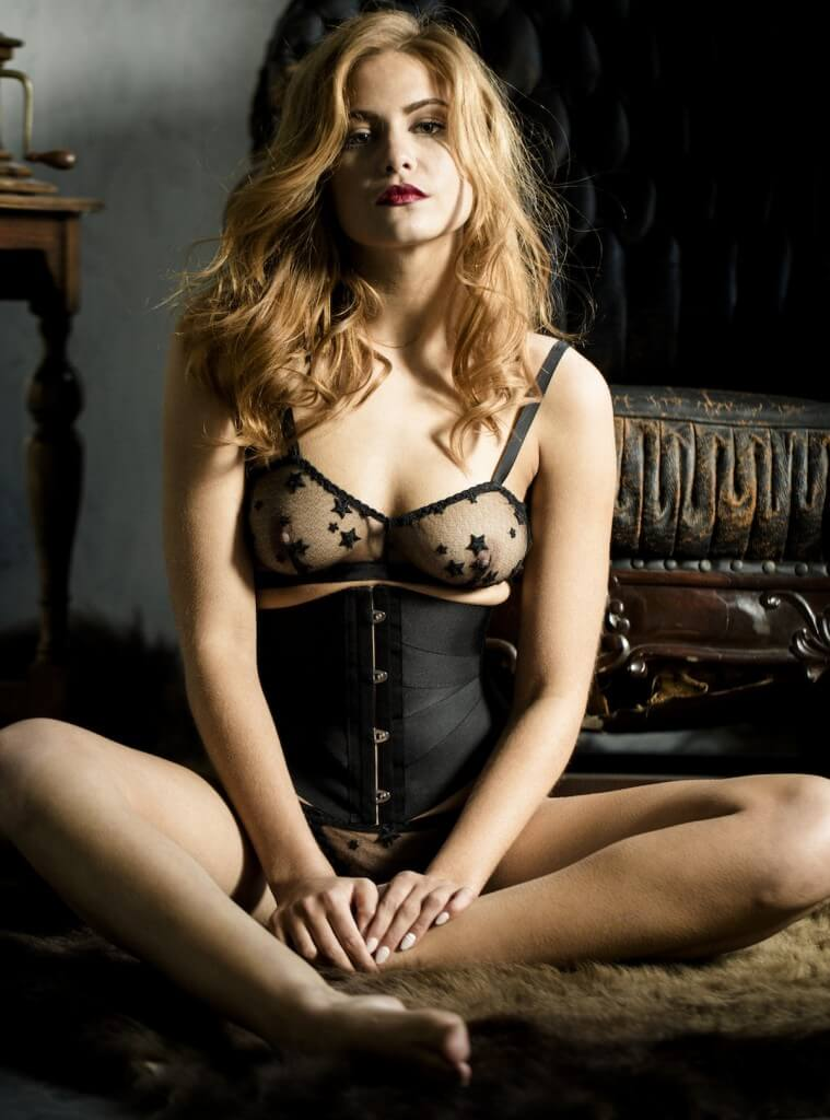 """Evgenia """"Scrim"""" expensive lingerie set in black. Sheer triangle bralette and thong with star pattern. Black, ribbon corset."""