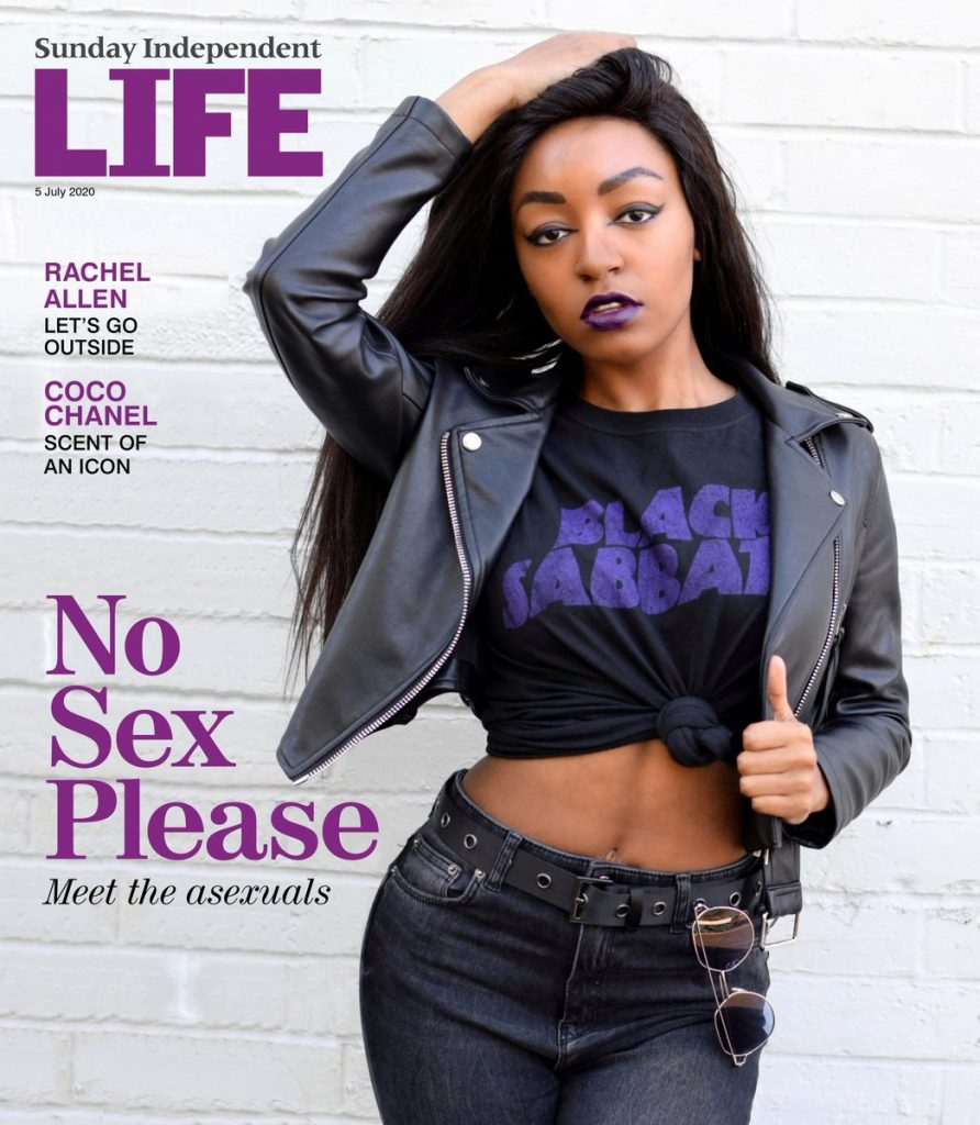 "Yasmin Benoit on the cover of Sunday Independent Life Magazine next to a headline saying ""No Sex Please: Meet the Asexuals"""