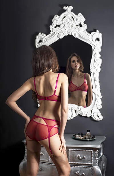 Elle red bra and panty 2