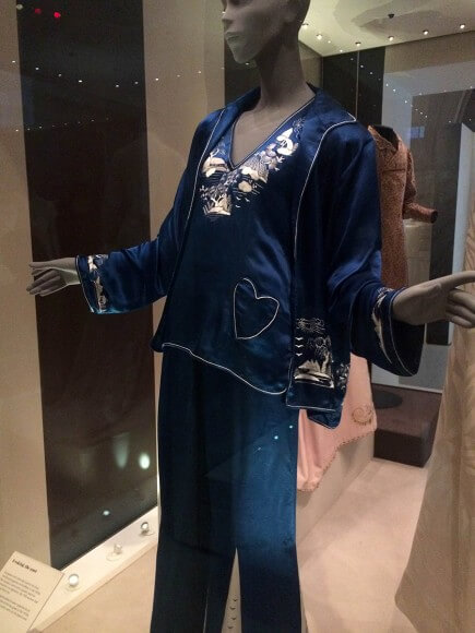 Embroidered silk pyjamas, Chinese made for the European market. C. 1926-1930. Taken at the Victoria and Albert Museum. Photo by Ruth Schechner
