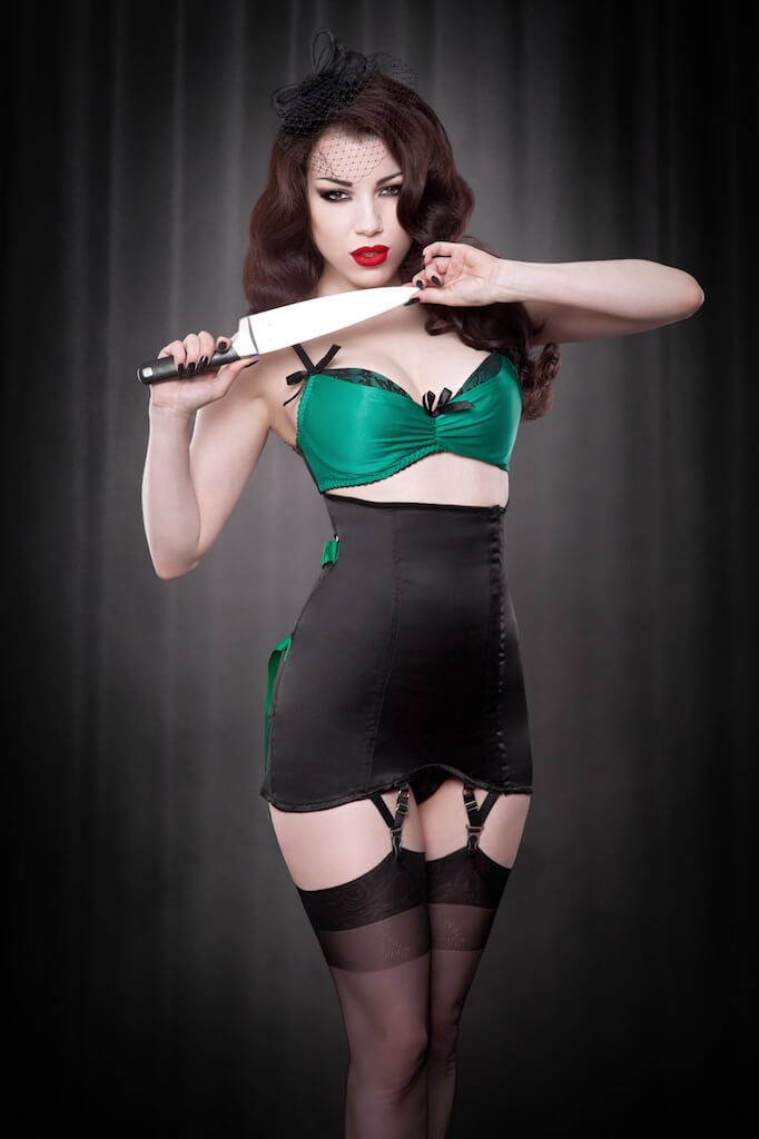 Emerald Fan Laced Girdle