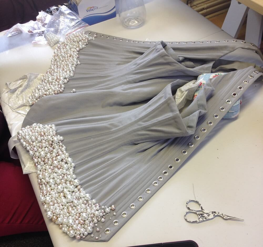Emiah Couture pearl encrusted corset body in progress