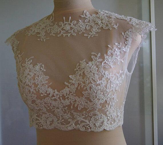 Tifary - Alencon lace bolero - etsy