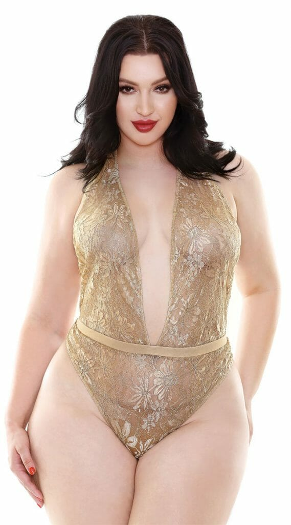Plus Size Champagne Wishes Lace Teddy - Gold Holiday Plus Size Lingerie