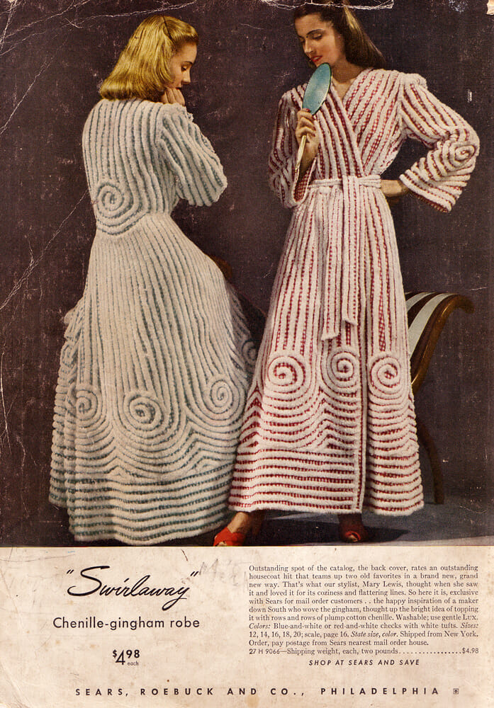 "Advertisement for ""Swirlaway"" gingham and chenille robes"