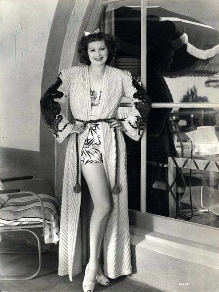 American actress Lucille Ball in a chenille robe