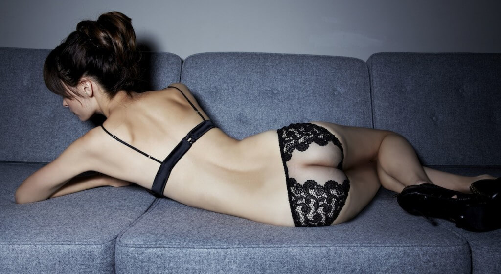 Fleur of England Belle de Nuit luxury sheer briefs and bra BACK SHOT