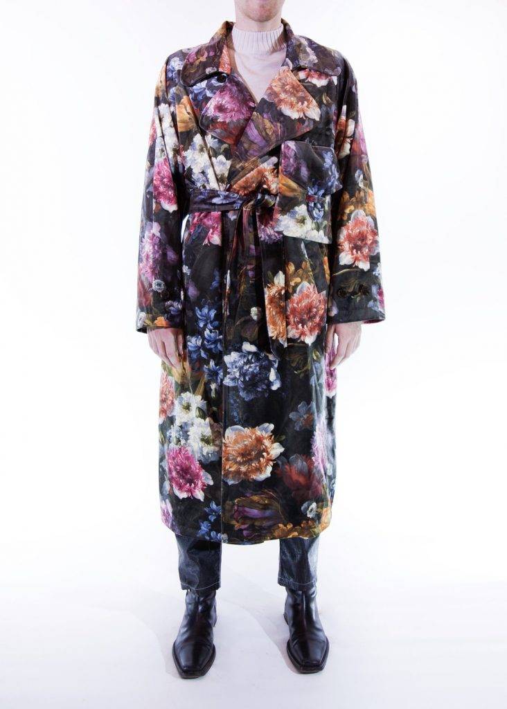 Fomme, gender neutral floral print trench coat.