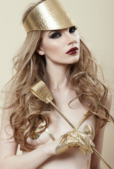 Fraulein Kink gold python crop and visor