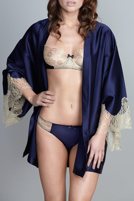 Gilda and Pearl - Isadora Robe - Silk with Gold French Leavers Lace