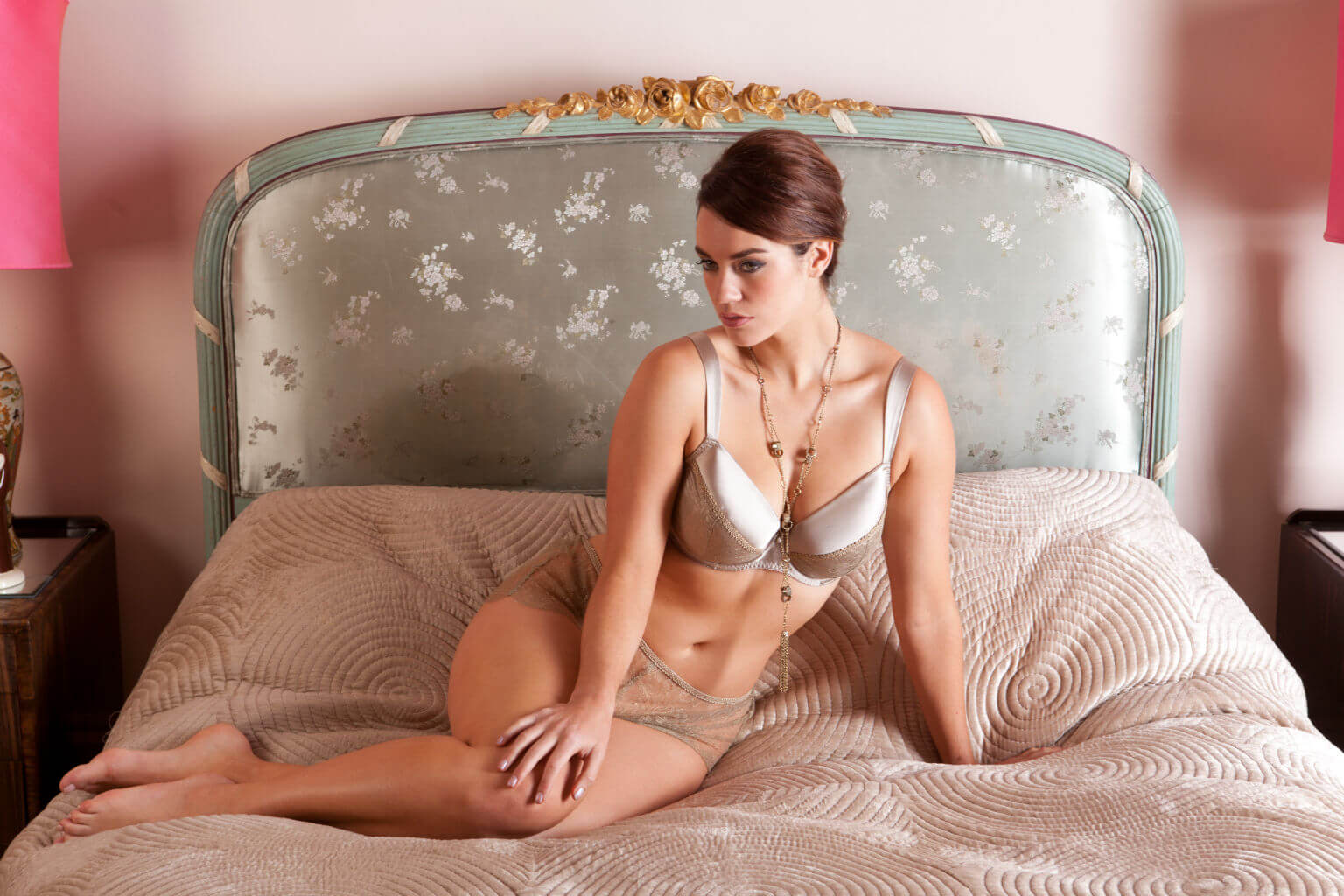 Mature silk lingerie