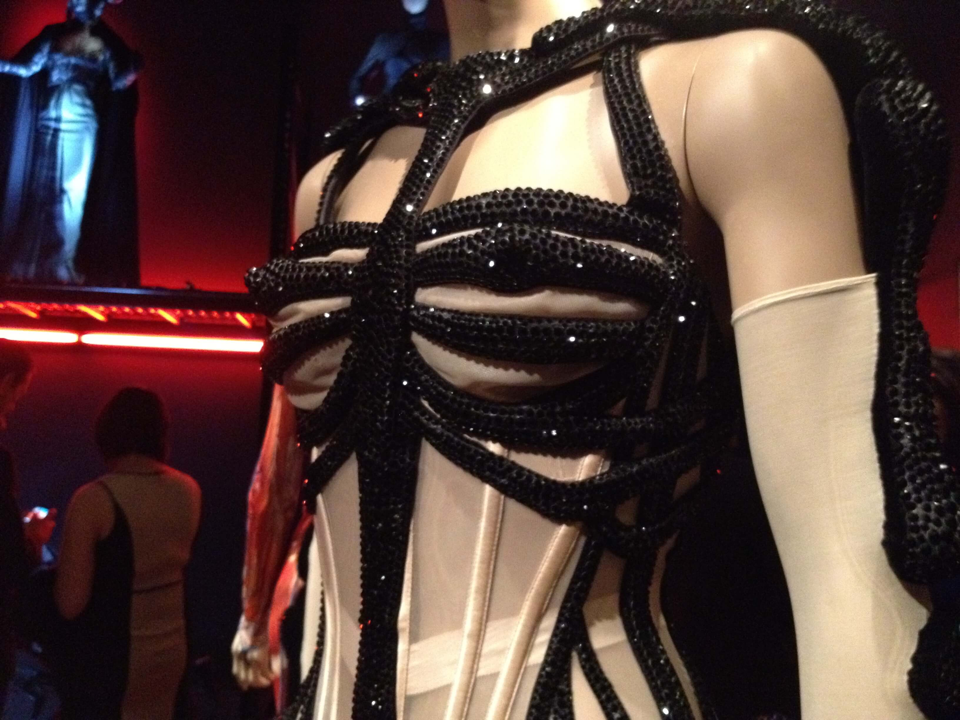 6b32a1f035 Close up of Jean Paul Gaultier s couture skeleton corset body
