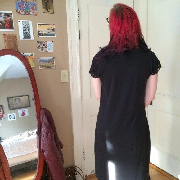 Back view of Bebe nightdress by Lusome in Noir.